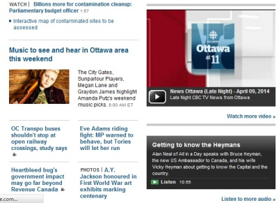Megan on front page of CBC Ottawa online